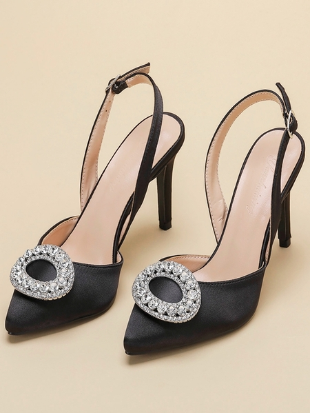 Yoins Pointy Toe Crystal Heels
