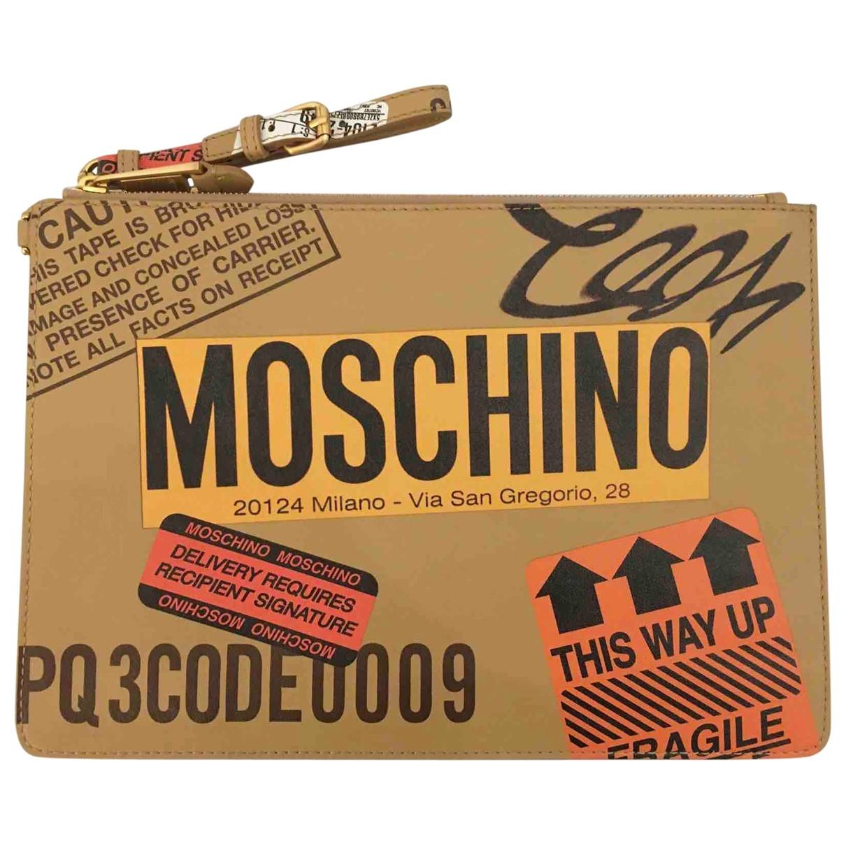 Moschino - Pochette   pour femme en cuir - beige