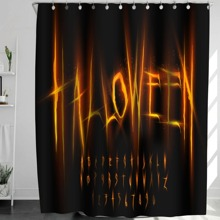 Duschvorhang mit Halloween Buchstaben Grafik und 12 Haken