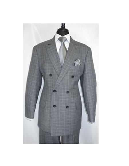 Double Breasted Button Closure Black HoundsTooth Suit