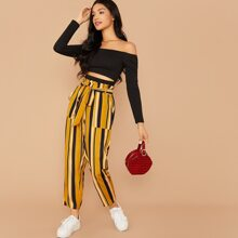 Cut Out Bardot Top & Paperbag Waist Striped Pants Set