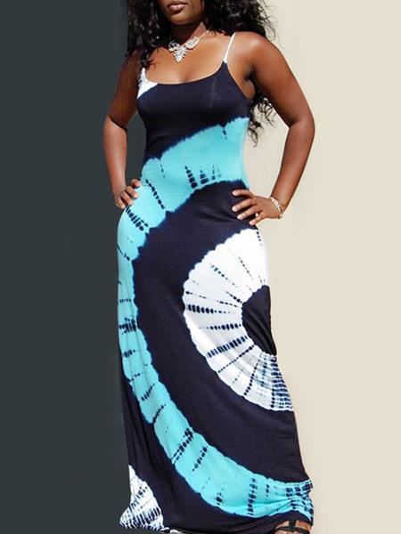 Milanoo Vestidos largos Correas sin mangas Cuello Azul claro Bloque de color Poliester Vestido largo hasta el suelo Vestido de verano