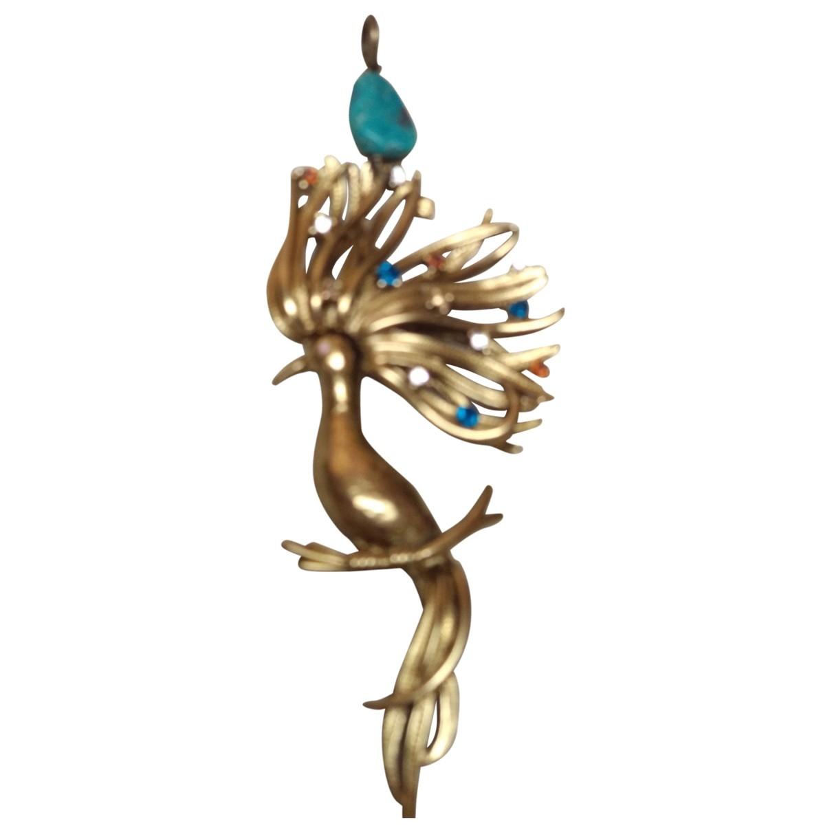 Non Signe / Unsigned Art Deco Anhaenger in  Gold Vergoldet