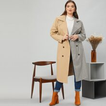 Plus Notched Collar Double Breasted Belted Plaid Trench Coat