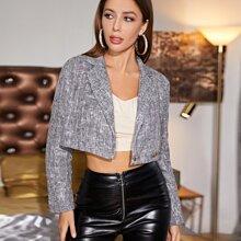 Zweireihiger Tweed Crop Blazer mit Reverskragen