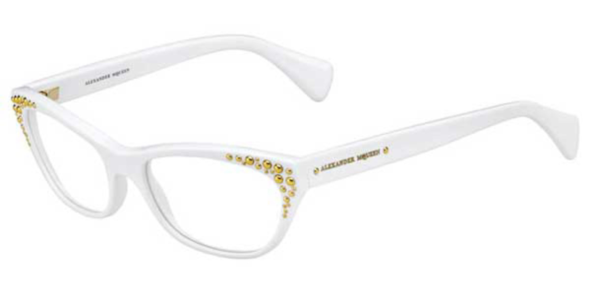 Alexander McQueen AMQ 4222 C29 Women's Glasses White Size 53 - Free Lenses - HSA/FSA Insurance - Blue Light Block Available