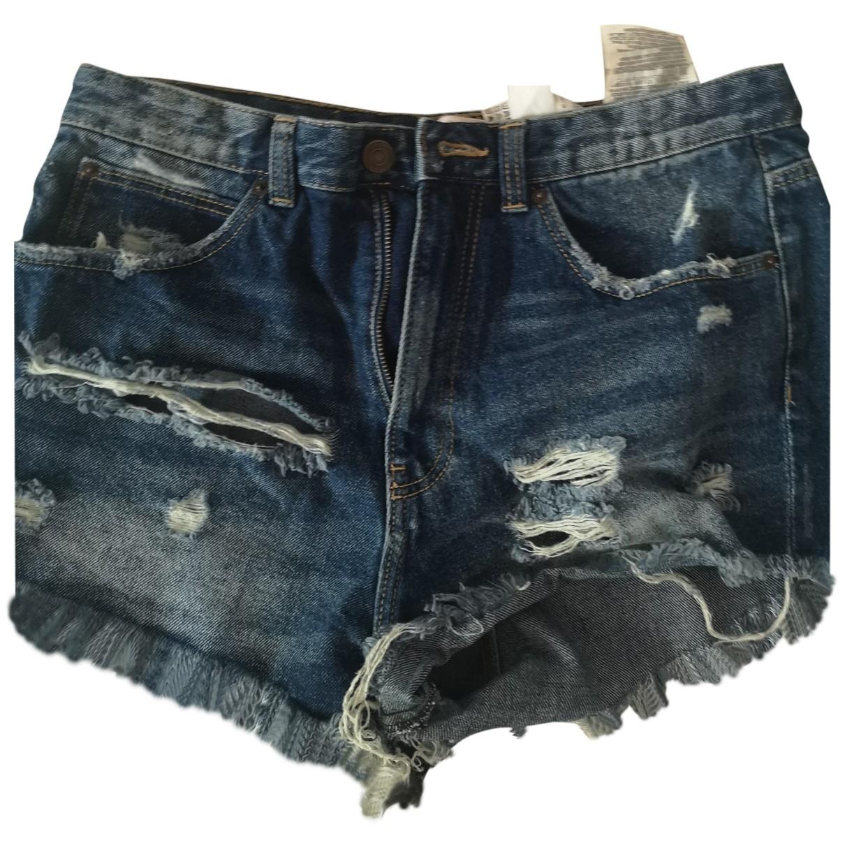 Zara - Short   pour femme en denim - bleu