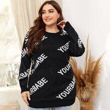Plus Drop Shoulder Letter Graphic Sweater
