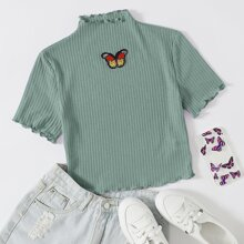 Rippenstrick T-Shirt mit gekraeuseltem Saum und Schmetterling Flicken