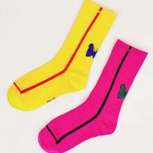 2 pares calcetines con patron de mariposa