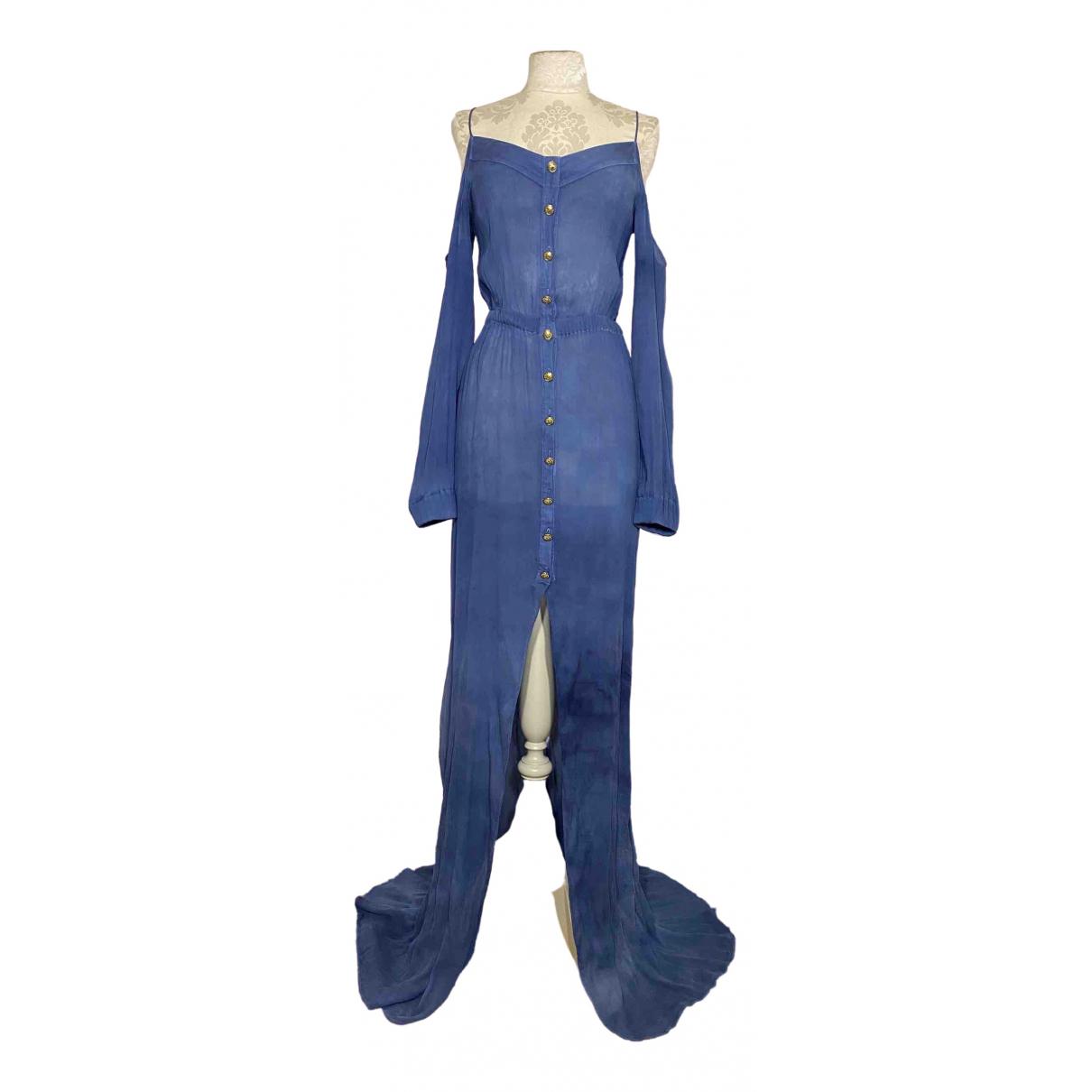 Balmain \N Kleid in  Blau Seide