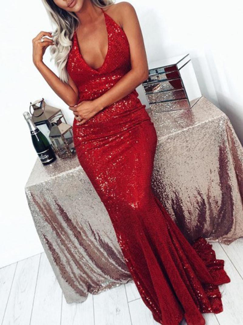 Ericdress Sheath V-Neck Sleeveless Sequin Prom Dress