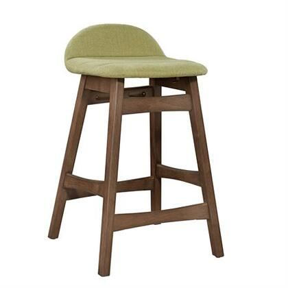 Space Savers Collection 198-B650124-GE Barstool - Green with Tapered Legs  X Center Stretcher and Fully Upholstered Linen in Satin Walnut