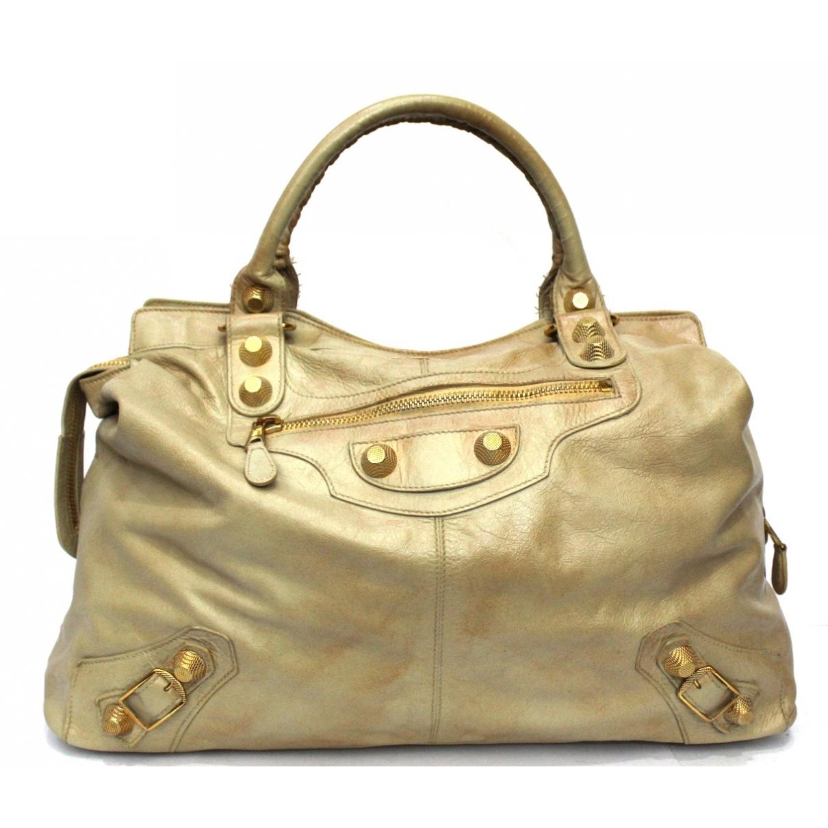 Balenciaga Work Handtasche in  Beige Leder