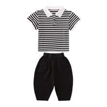 Boys Striped Polo Shirt & Cargo Pants