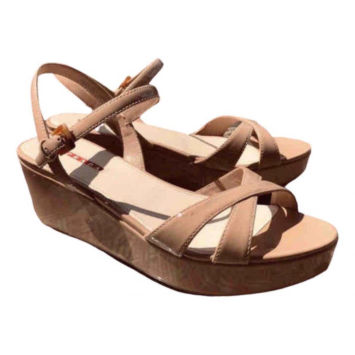 Prada \N Beige Patent leather Sandals for Women 39.5 EU