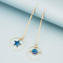 Star & Planet Charm Mismatched Drop Earrings
