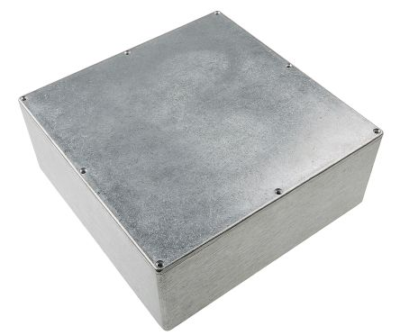 RS PRO Natural Die Cast Aluminium Enclosure, Shielded, 250 x 250 x 100mm