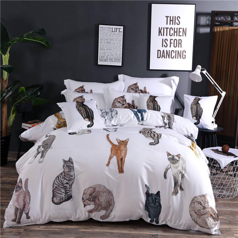 Designer 60S Brocade 3D Cute Cats Luxury White 4-Piece Cotton Bedding Sets