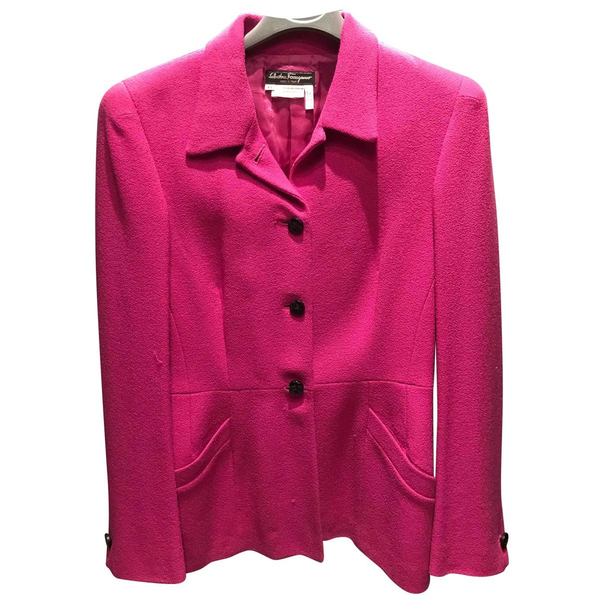 Salvatore Ferragamo \N Pink Wool jacket for Women 44 IT