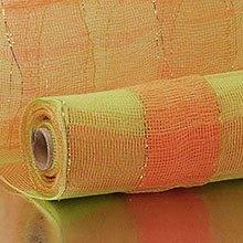 21X10 Yards Lime/Orange 2-Clrd Wide Strp Deco Mesh Polypropylene / Cellophane - Wraps Width: 21 Length: 10 yd by Paper Mart