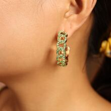 Rhinestone Decor Cuff Hoop Earrings