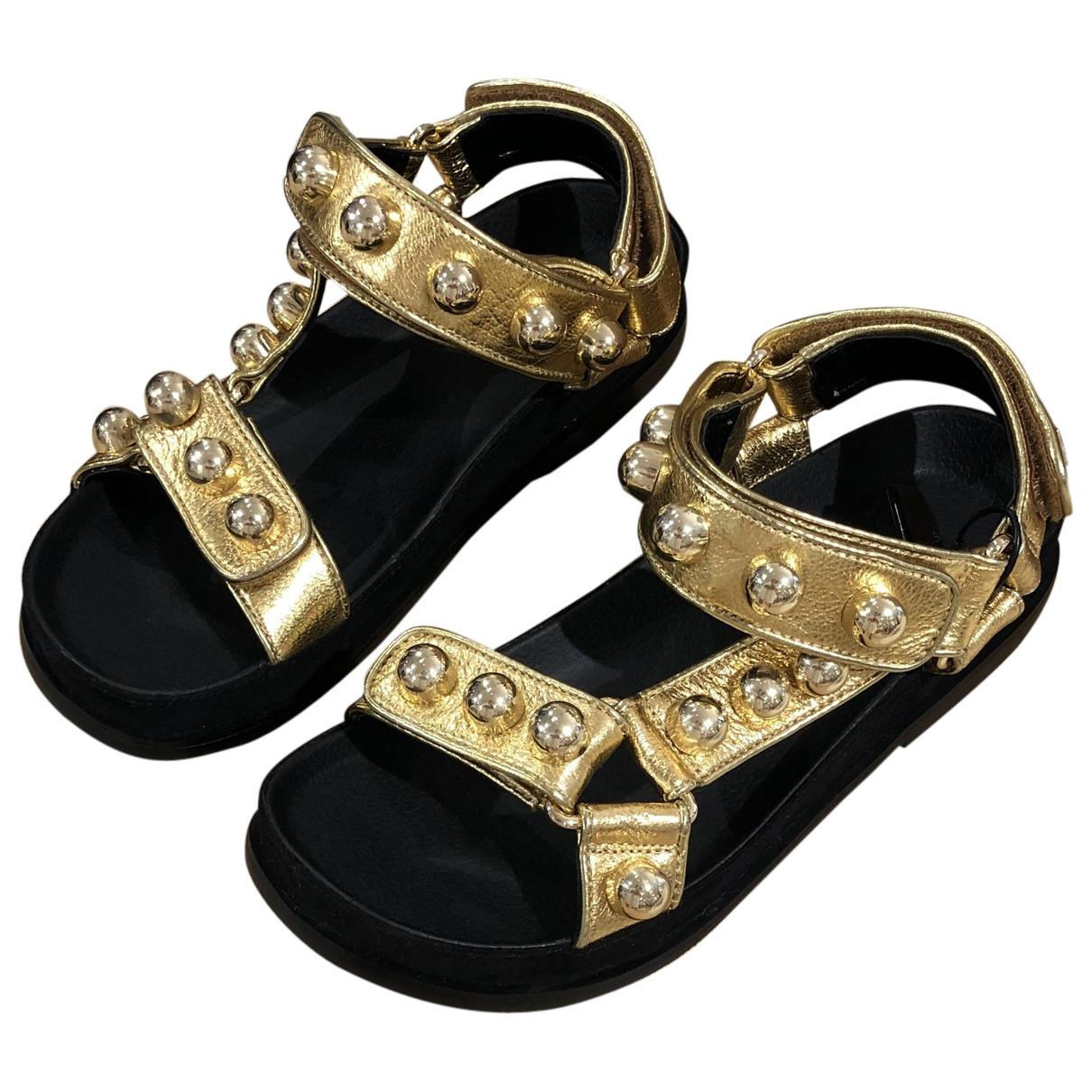Sandro Spring Summer 2020 Gold Leather Sandals for Women 38 EU