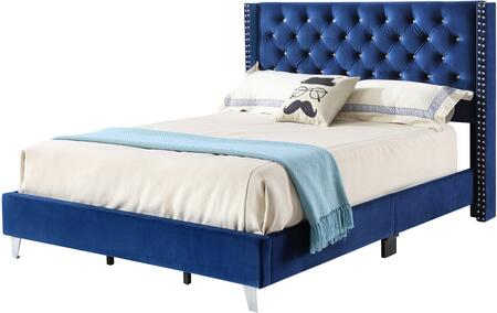 Julie Collection G1924-KB-UP King Size Bed with Velvet Like Cover  Nail Head Trim and Wood Front Leg in