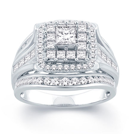 Modern Bride Signature Womens 2 CT. T.W. Genuine White Diamond 14K Gold Bridal Set, 5 , No Color Family