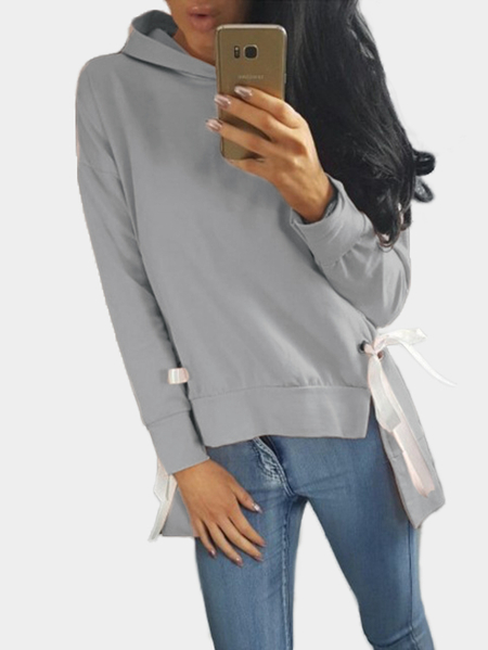Yoins Grey Plain Hooded Lace-up Irregular Hem Long Sleeves Hoodie
