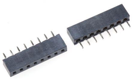 HARWIN 2mm Pitch 8 Way 1 Row Straight PCB Socket, Through Hole, Solder Termination (5)