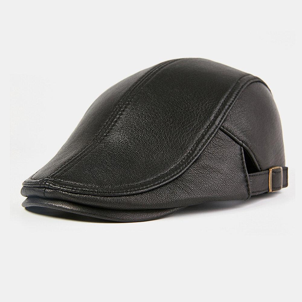Collrown Men Genuine Leather Outdoor Keep Warm Winter Autumn Leather Forward Hat Beret Hat