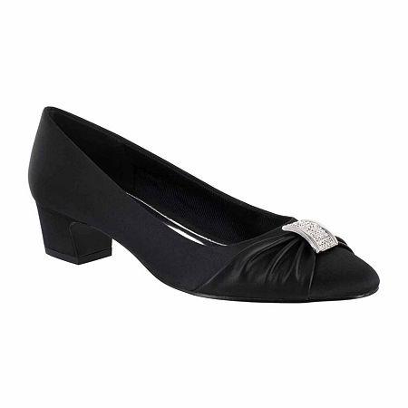 Easy Street Womens Eloise Pumps Block Heel, 8 1/2 Narrow, Black