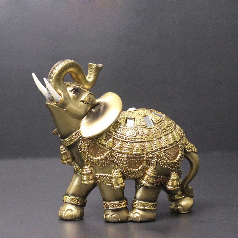 Elegant Elephant Figurine Trunk up Elephant Statue Crafts Ornaments Home Office Desktop Decor Gift