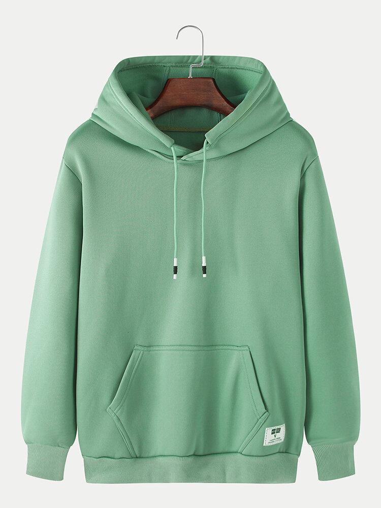 Mens Solid Casual Loose Drawstring Pullover Hoodies With Kangaroo Pocket