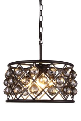 1214D16MB-SS/RC 1214 Madison Collection Pendant Lamp D: 16in H: 9in Lt: 4 Mocha Brown Finish Royal Cut Silver Shade