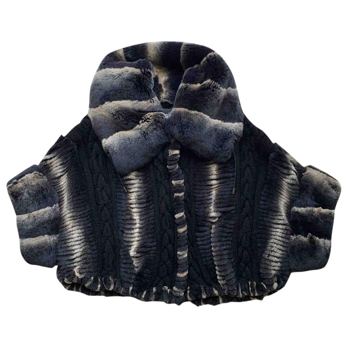 - Manteau Manche ballon pour femme en lapin - noir