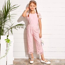 Girls Lace Sleeve Solid Top & Pants Set