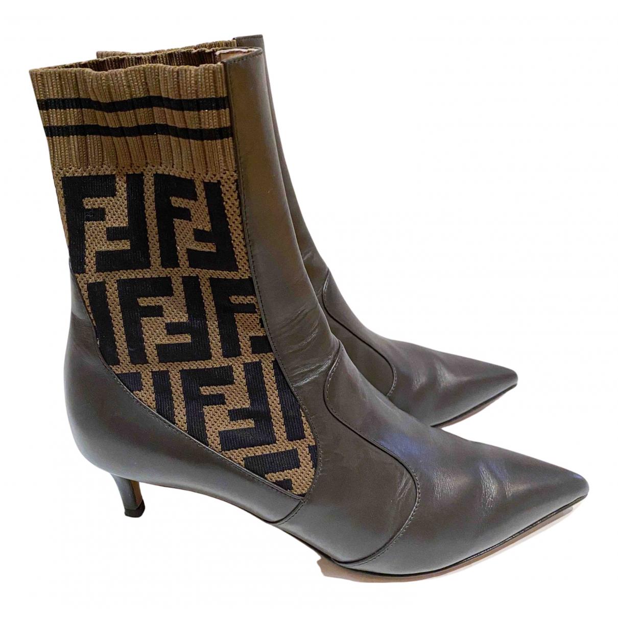 Fendi Colibri Brown Leather Boots for Women 36 EU