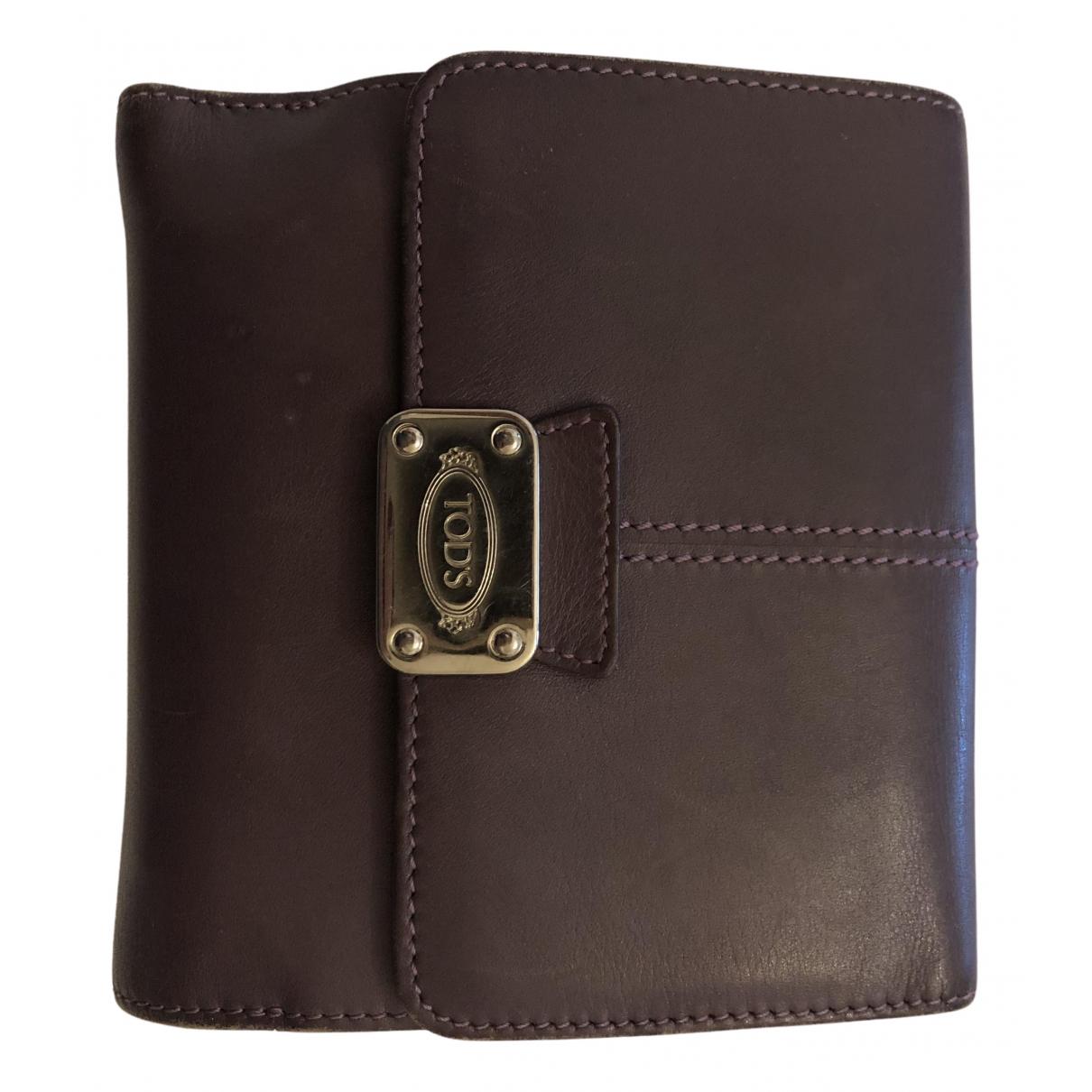 Tods - Portefeuille   pour femme en cuir - violet