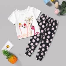 Kleinkind Maedchen T-Shirt mit Flamingo Muster und Hosen