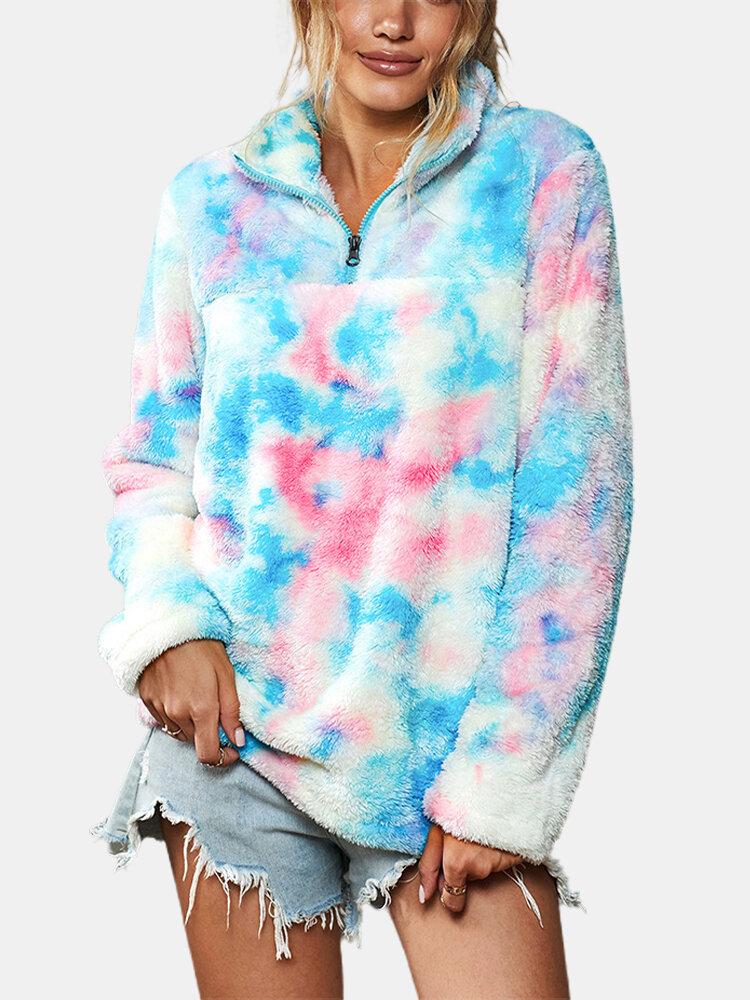 Tie-dye Printed Lapel Collar Long Sleeve Zipper Plush Sweater