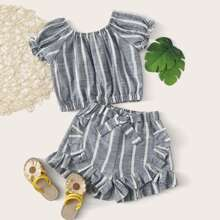 Toddler Girls Striped Blouse & Tie Front Ruffle Trim Shorts