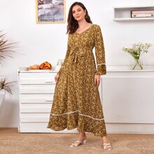 Maternity Guipure Lace Trim Bell Sleeve Self Belted Ditsy Floral Dress