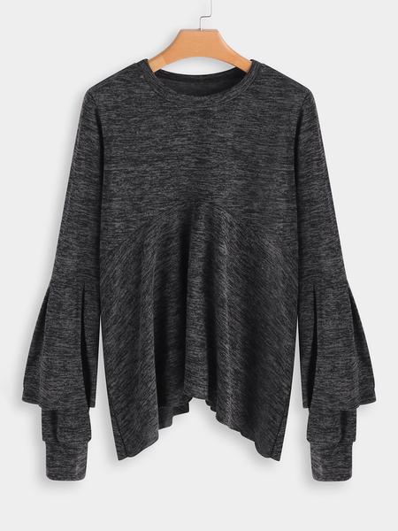Yoins Dark Grey Flared Sleeves Fashion T Shirt