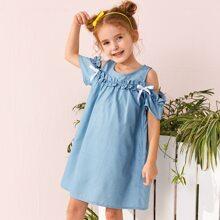 Toddler Girls Cold Shoulder Bow Frill Denim Dress