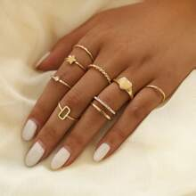 8pcs Rhinestone Heart & Star Ring
