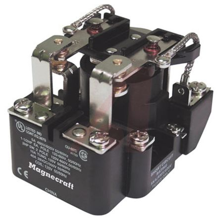 SE Relays Magnecraft , 24V dc Coil Non-Latching Relay DPDT, 50A Switching Current Panel Mount (30)
