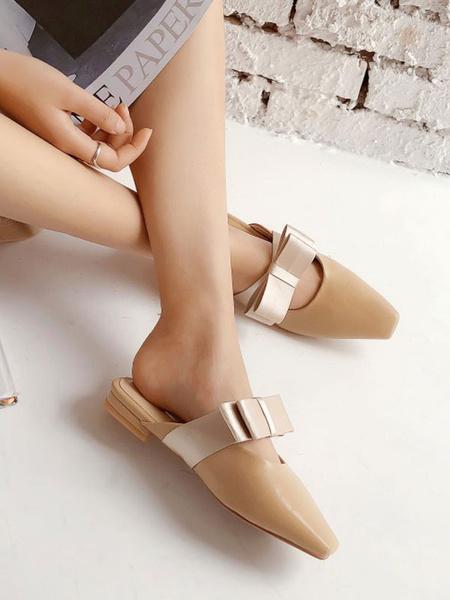 Milanoo Women Flat Mules Light Apricot PU Leather Square Toe Bow Slip-On Slide Shoes