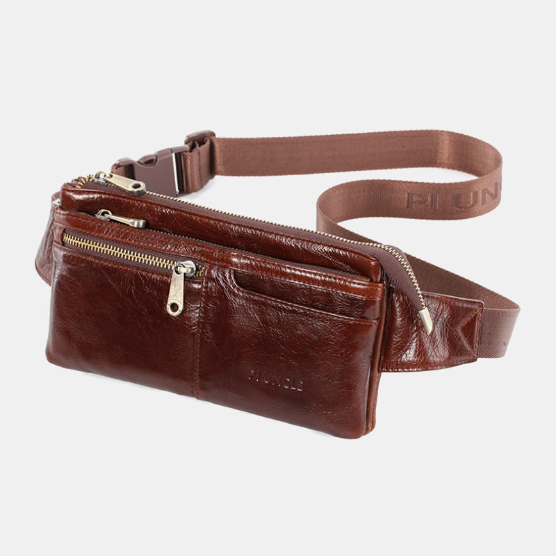Men Genuine Leather Multifunction Business 4 Card Slots Multi-carry Crossbody Bag Waist Sling Bag